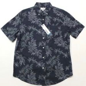 Sonoma Casual Short Sleeve Shirt Navy Blue Floral